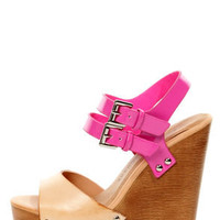 Chinese Laundry Jungle Gym Natural and Fuchsia Platform Wedges