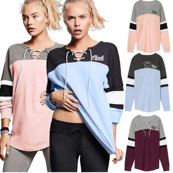 Victoria's secret Pink Print women fashion hooded sweatshirt lace-up long sleeve top One-nice™