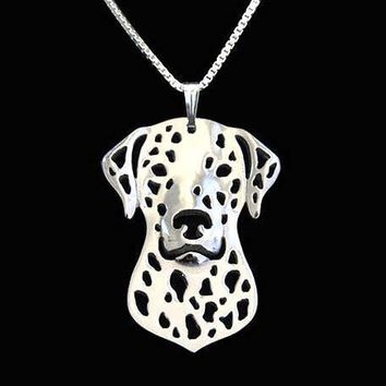 Dalmatian Dog Face Cut Out Shaped Pendant Necklace in Silver | Animal Jewelry