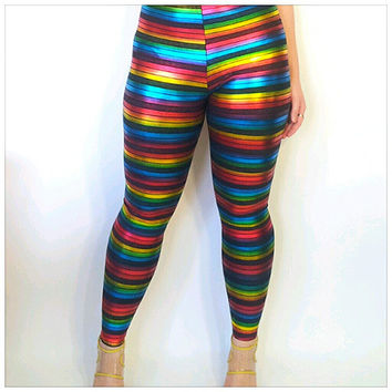 Multi-Colored Striped High Waisted Spandex Leggings Colorful Rainbow