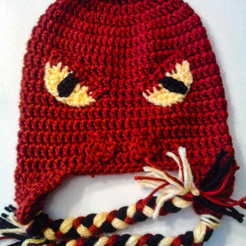 Snake or Dragon crochet hat with Earflaps and braided straps perfect for little boy newborn photo prop or halloween