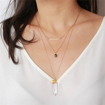 Long point raw crystal pendant, faceted pyrite and gold curve bar - 14k gold filled necklace - every layering jewelry