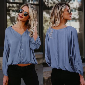 Pure Color V-neck Long Sleeves Regular Loose Blouse