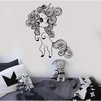 Vinyl Wall Decal Little Cute Unicorn Nursery Girl Room Stickers Unique Gift (ig3692)