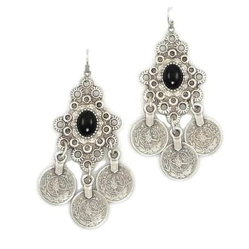Vintage Silver Turkish Coin Earrings floral design Gypsy Ethnic Tribal Festival Jewelry Turkish Bohemian Earrings