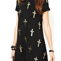 Cross Print Dress In Black