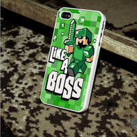 Cute Minecraft like a boss iphone 4 case,iphone 4S case,iPhone 5C case,iPhone 5S case,iphone 5 case,Samsung s3 case,samsung s4 case