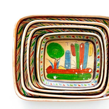 Vintage 1930s Mexican Pottery Dishes - Set of 4 - Tlaquepaque Touristware, Mexican Folk Art, Made in Mexico, Southwestern Decor