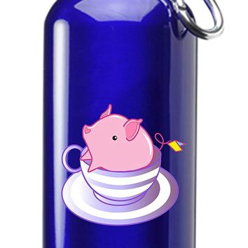 Hat Shark Teacup Pig In A Striped Purple Teacup Cute And Adorable 3D Color Printed 17 oz Stainless Steel Water Bottle Blue
