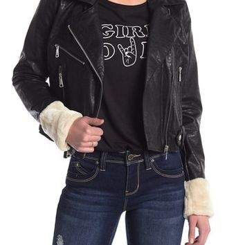 Vigoss | Faux Fur Collar Faux Leather Moto Jacket | Nordstrom Rack