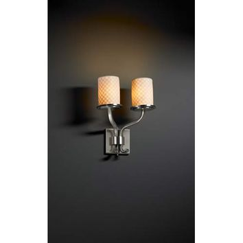 Justice Design Group POR-8782-10-CHKR-NC Sonoma Brushed Nickel Checkerboard Two-Light Short Wall Sconce