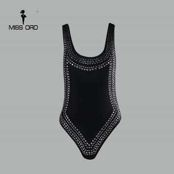 Free Shipping Missord 2017 Sexy tight u-neck Rhinestone  bodysuit  FT4371