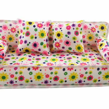 Cute Miniature Barbie Doll House Furniture Flower Cloth Sofa With 2 Cushions For Doll Accessories Kid's Play House Toys