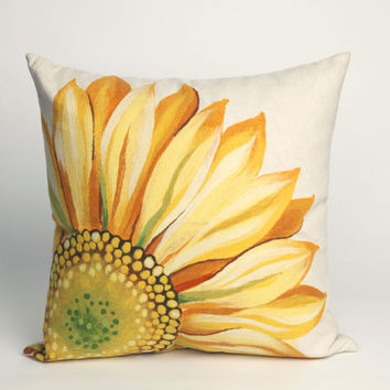 "Sunflower Yellow 20"" Square Indoor Outdoor Pillow"