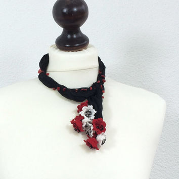 Silk Wrap Scarf, Boho Silk Necklace, Red Flower Collar, Black Silk Necklace, Oya Beaded Necklace, Christmas Gift, Women's Gift