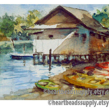 old style architecture Original ACEO Watercolor Painting id1340802 Pulau Ubin Kampong Singapore
