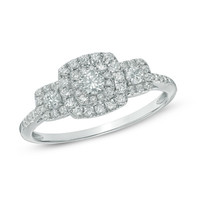 1/2 CT. T.W. Diamond Square Frame Three Stone Engagement Ring in 10K White Gold
