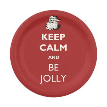 Keep Calm and Be Jolly Christmas Paper Plate 7 Inch Paper Plate