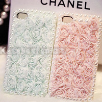 lace pearl iphone case  unique iphone 5 case by KateDesignArt
