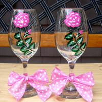 Painted Wineglasses With A Pink and White Rose