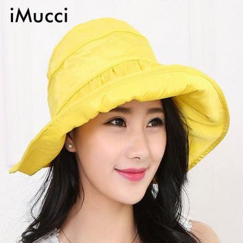 CREY78W iMucci 2017 Summer Hats for WomenFoldable Roll Up Sun Beach Wide Brim Straw Visor Hat Cap New Fashion Visors Cap Sun Anti-uv Hat
