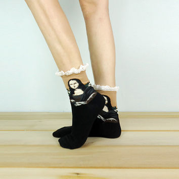 Mona Lisa Lace Socks, Ankle Socks, Painting Socks, Lace Boot Socks, Knitted Socks, Leg Warmer