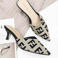 FENDI Hot Sale Women Fashion F Letter Pointed High Heels Sandals Shoes Grey