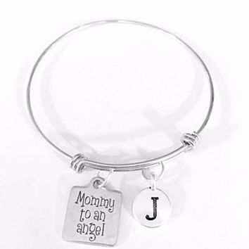 Mommy To An Angel Mother's Day Initial Gift Adjustable Bangle Charm Bracelet
