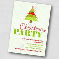 Eat, Drink and be Merry Printable Christmas Party Invitation.  Digital Christmas Party Invite, PDF.