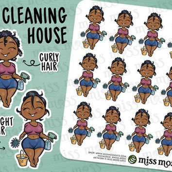 Brown Skin Cleaning House Chores Planner Stickers, African American Black - Erin Condren, Happy Planner, Kikki K, Filofax, Decorative