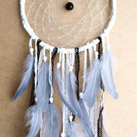 Dream Catcher - Grey Night - With Black Prism, Silver Web, Grey Feathers and Laces - Boho Home Decor, Nursery Mobile
