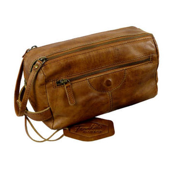 Toiletry Bag / Rodeo-washed 24-natural -Leather, lining and metal parts * washed Rodeo cowhide
