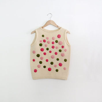vintage 60s knit shell / sweater shell tank top