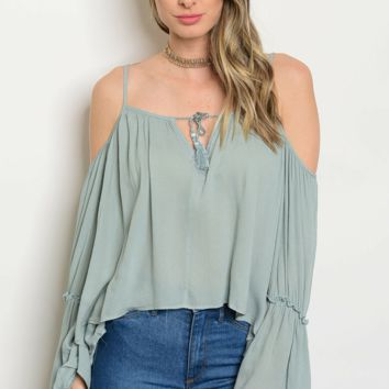 Sage Cold Shoulder Tassel Blouse