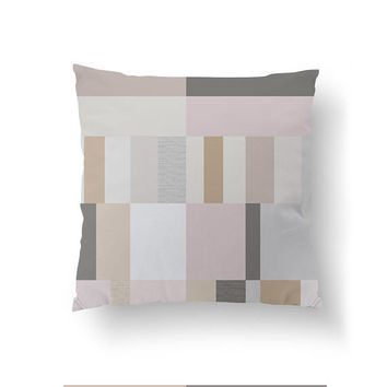 Geometric Shapes, Decorative Pillow, Cushion Cover, Pink Gray Texture, Subdued Colors, Home Decor, Simple Art, Minimal Pillow, Throw Pillow