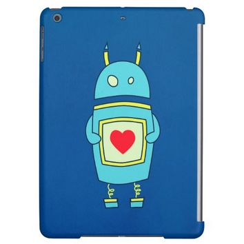 Blue Cute Clumsy Robot With Heart