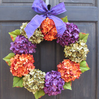Halloween Wreath, Purple Green & Orange Hydrangea Wreath, Halloween Door Decoration