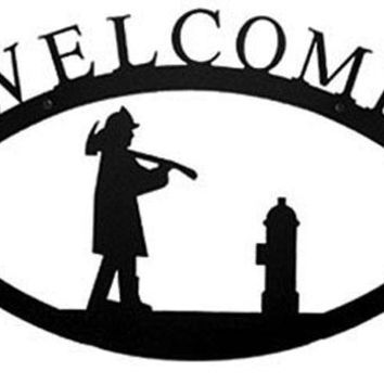 Wrought Iron Large Fireman Welcome Home Sign Large