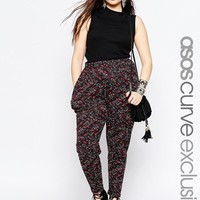 ASOS Curve | ASOS CURVE Peg Pant in Dark Folk Print at ASOS