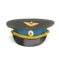 Air force military hat cap blue Russian army soldier war army hammer and sickle visor