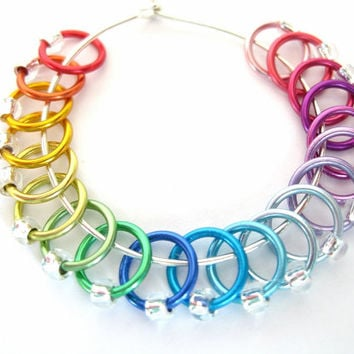 Small Rainbow Stitch markers | Ring stitch markers | Dangle free markers | Knitting tools | silver beads | #0760