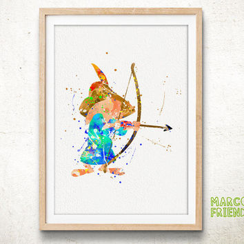 Disney Little John - Watercolor, Art Print, Home Wall decor, Watercolor Print, Disney Poster