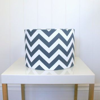 Navy blue chevron medium fabric lampshade for table, floor or ceiling pendant shades