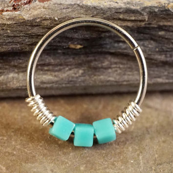 Turquoise Cube Beaded Nose Hoop Ring or Cartilage Hoop Earring 20 Gauge