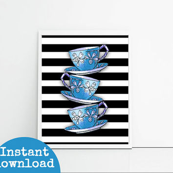 Kitchen decor blue stacked teacups, three teacups on black stripes, kitchen wall art printable, 8x10 inch downloadable art print