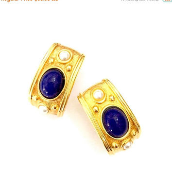 "Napier ""Continental"" Half Hoop Earrings, Faux Lapis and Pearls, Heavy Gold Tone Metal, Clip-on Earrings, Vintage Designer Signed"