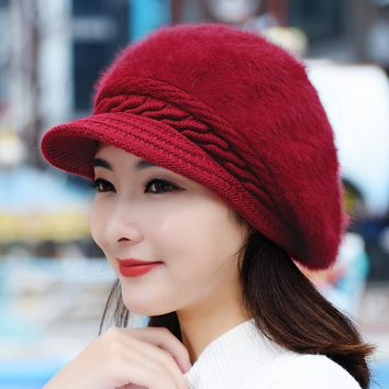 Women Artist Beret Cap Autumn&Winter Thick Warm Vintage Solid Colors Soft Felt Wool Beanie Hat Ladies Fashion Classic Berets