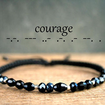 COURAGE morse bracelet, strength bracelet, for him and her, affirmation, personalized jewelry, word, success, beaded black jewelry men,