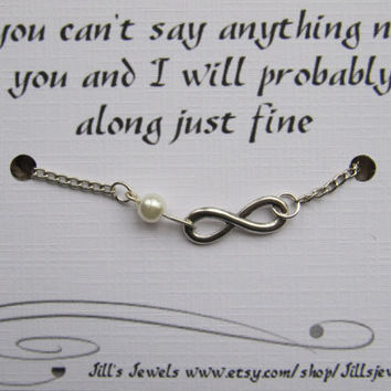 Funny Friendship Infinity Charm Bracelet with Pearl and Funny Quote Card -  Friendship Bracelet - Quote Gift