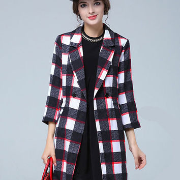 Black and White Plaid Drawstring Plus Size Trench Coat